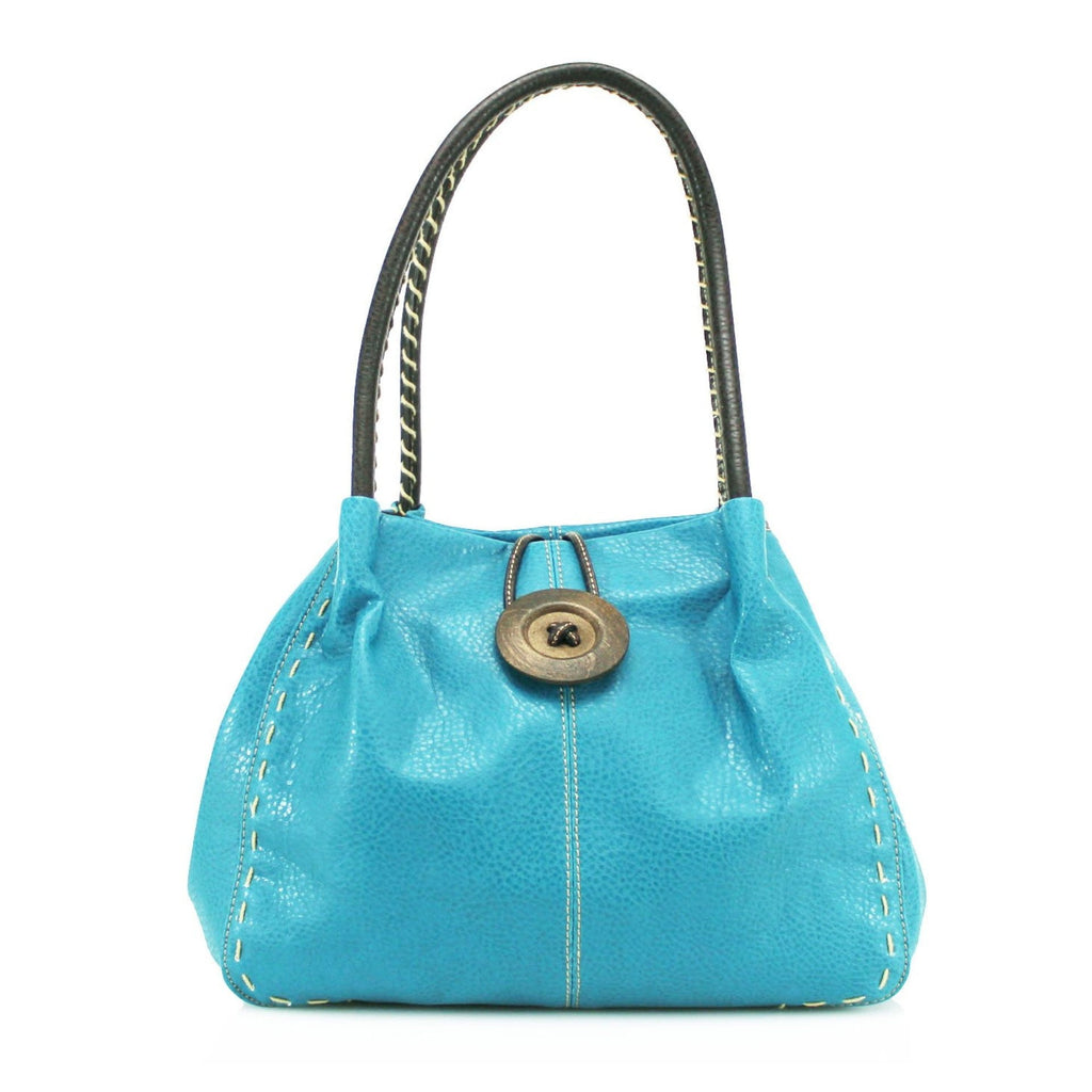 Women's Faux Leather Large Wooden Button Shoulder Bag - available in several colours - Hothouse