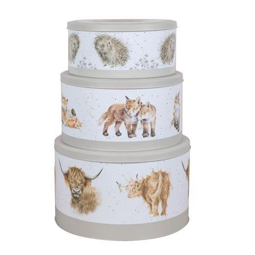 Wrendale Designs - Set of 3 Cake Tins (Highland Cow, Fox, & Hedgehog) - Hothouse