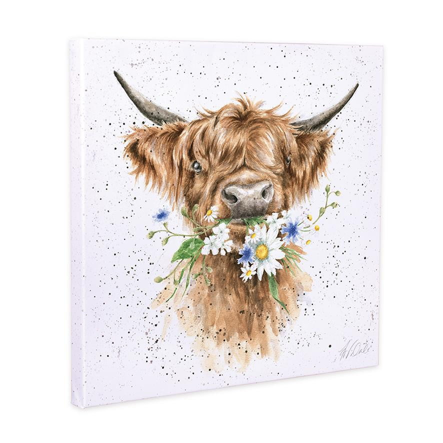 Wrendale Designs - 'Daisy Cow' 20cm Canvas Print - Hothouse