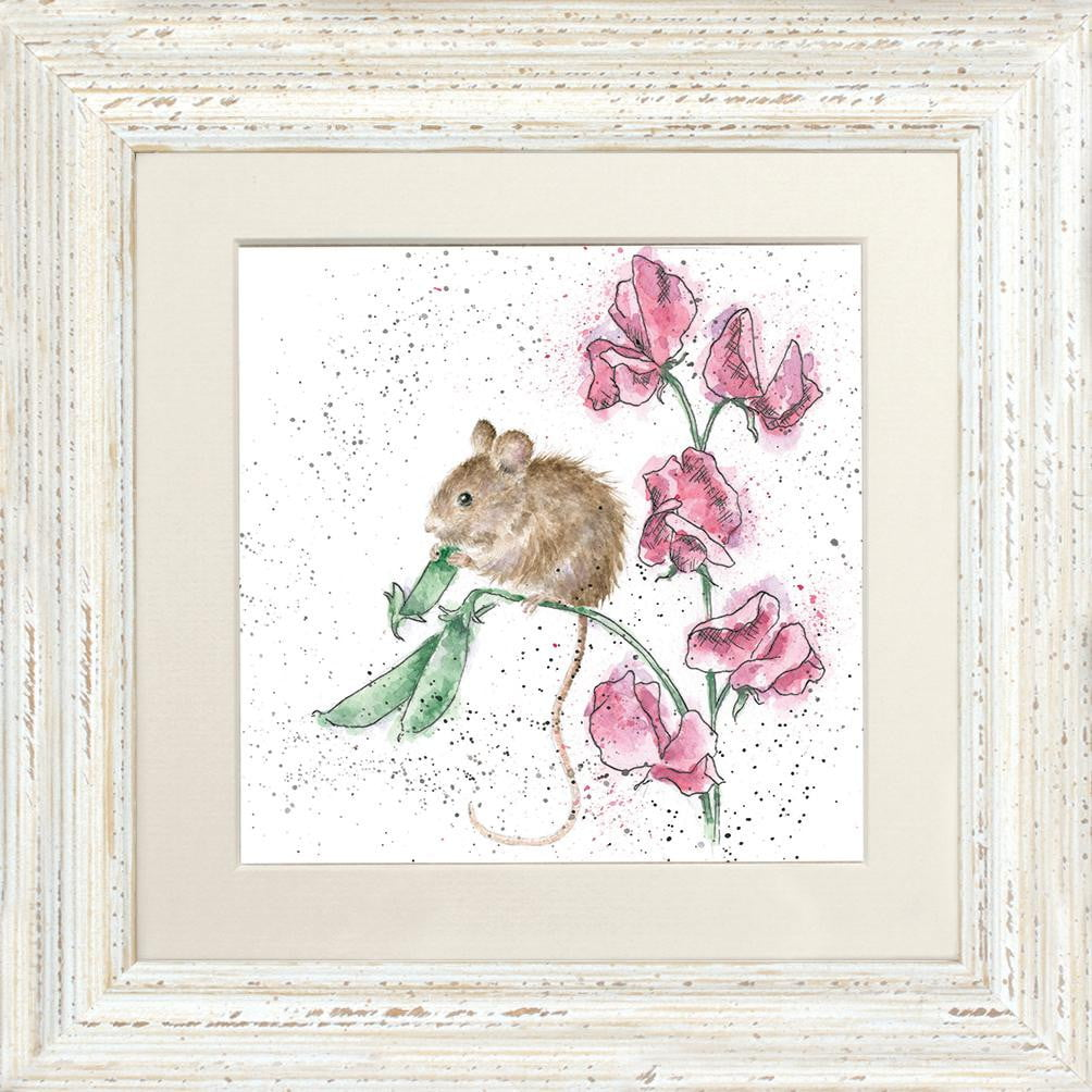 Wrendale Designs 'The Pea Thief' Mouse Framed Card - White Frame (24 x 24cm)