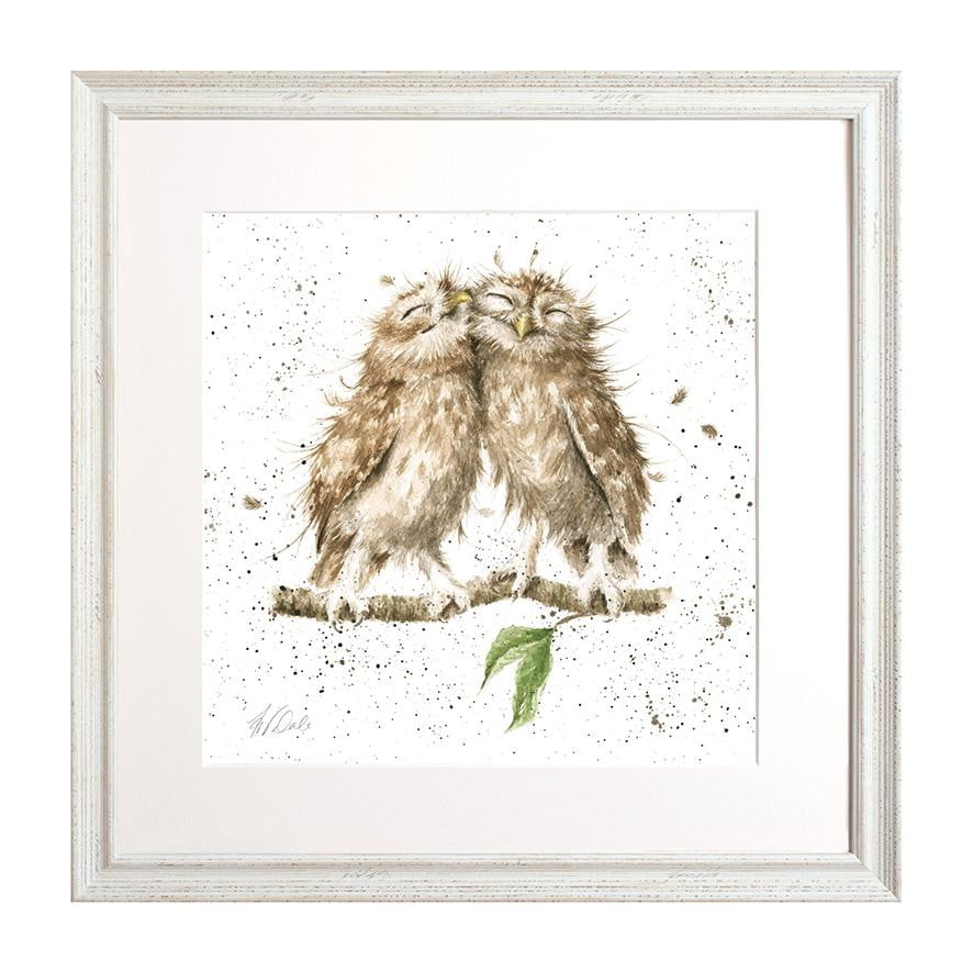 Wrendale Designs 'Birds of a Feather' Owls Signed Framed Mounted Print - White Frame