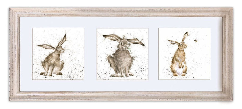 Wrendale Designs 'Trio of Hares' Triple Print in a Mounted Frame - White Frame (61 x 26cm)