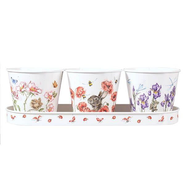 Wrendale Designs - Floral Herb Pots and Tray (GR007)