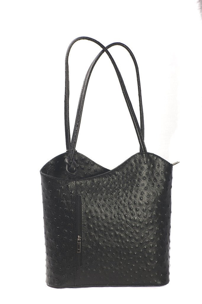 Italian Leather Shoulder Bag Convertible Backpack Ostrich Skin Effect- available in several colours - Hothouse