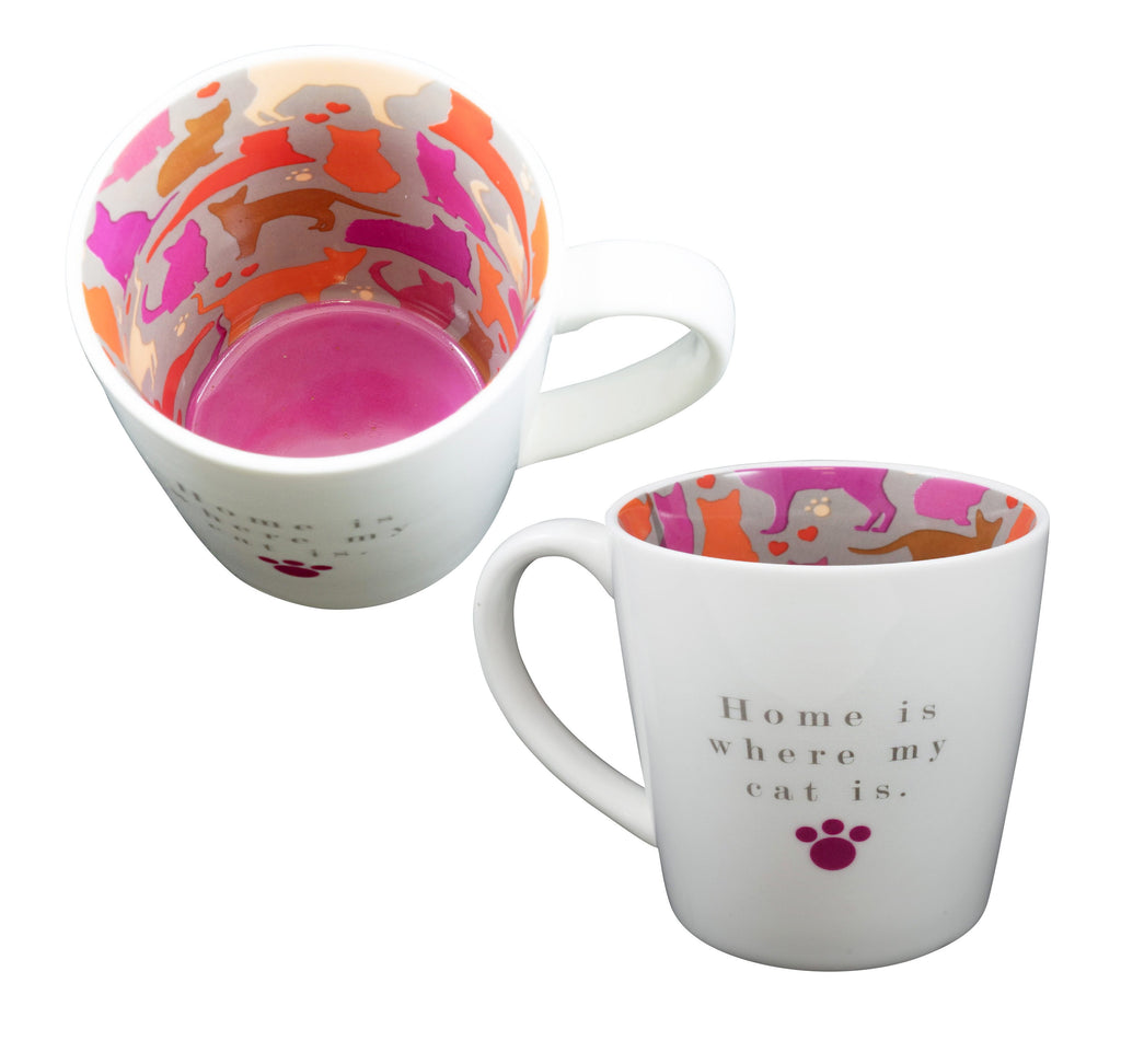 'Home Is Where My Cat Is' Ceramic Inside Out Mug - Hothouse