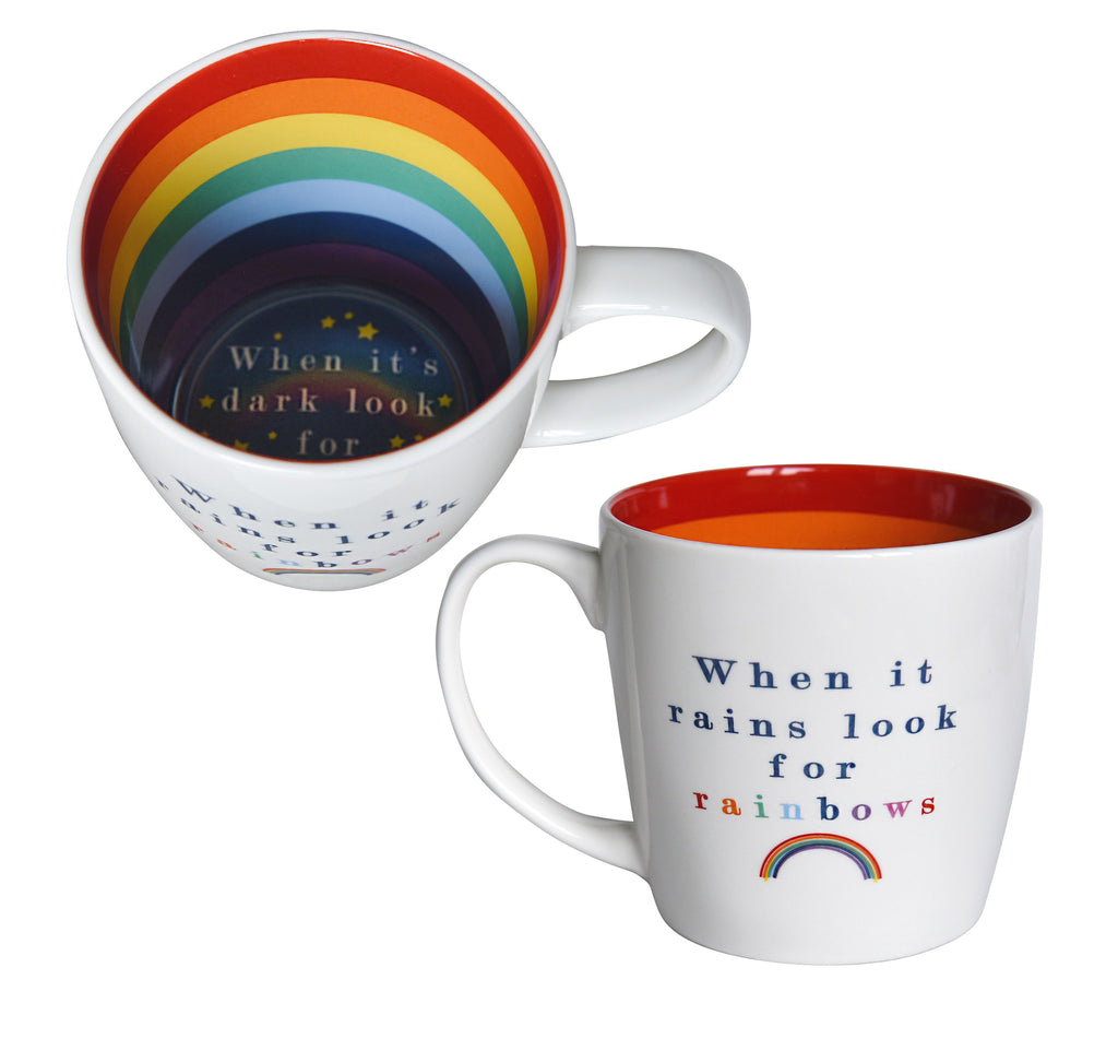 """When it Rains Look for Rainbows"" Ceramic Inside Out Mug - Hothouse"