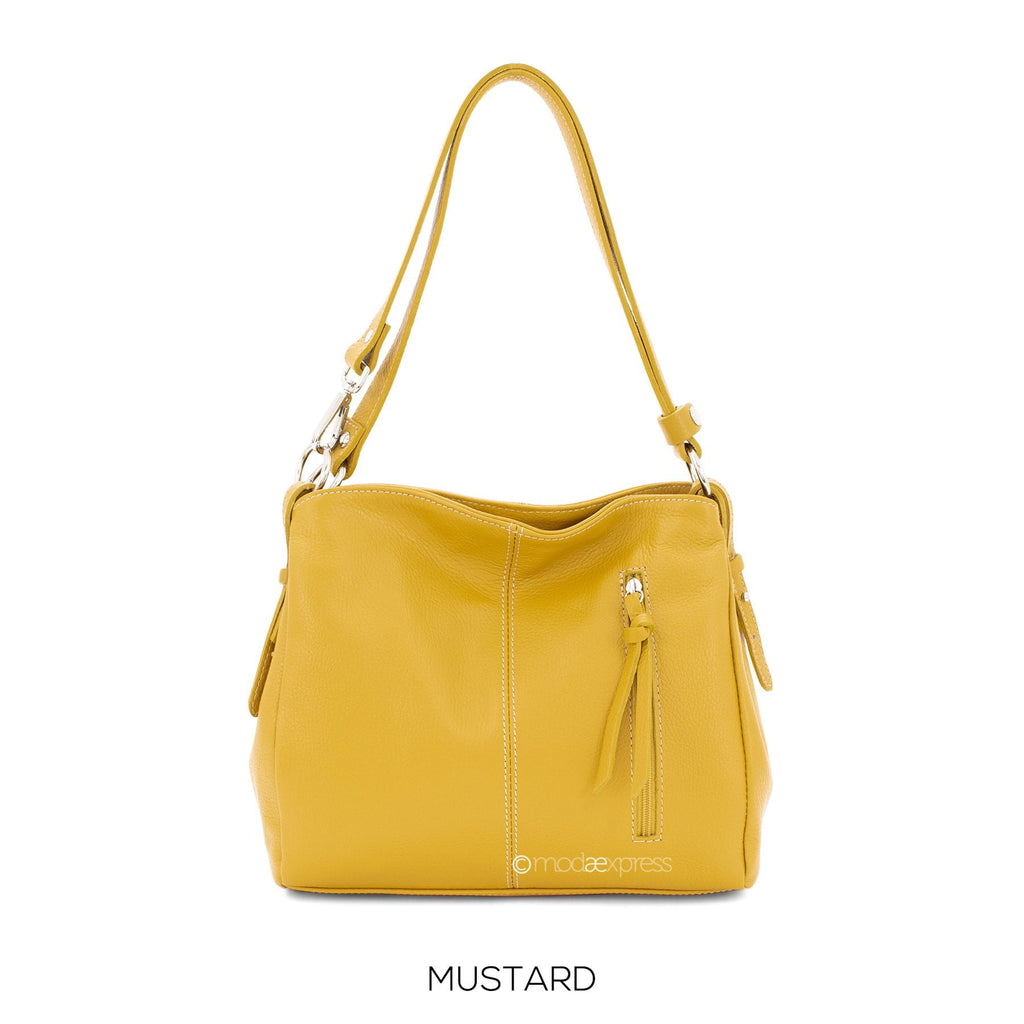 Italain Leather Shoulder Bag with Adjustable Strap - available in several colours - Hothouse