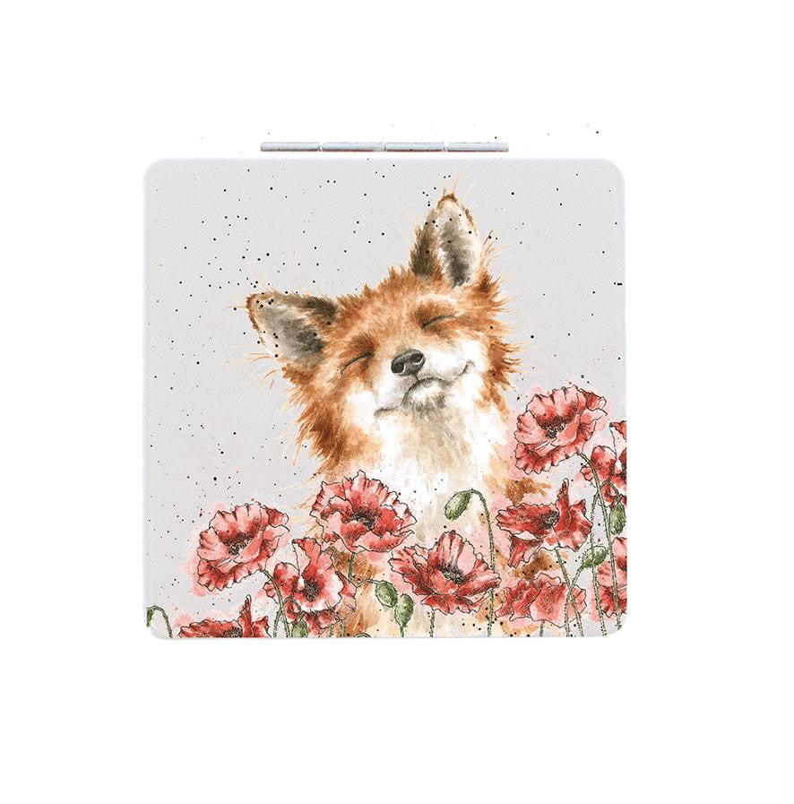 Wrendale Designs 'Poppy Fields' Fox Compact Mirror - Hothouse