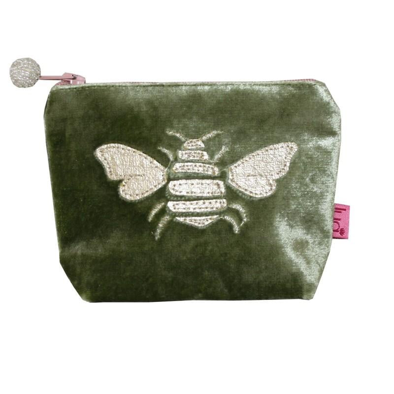 Lua Applique Gold Bee Mini Velvet Purse - Available in Cerulean Blue & Olive - Hothouse