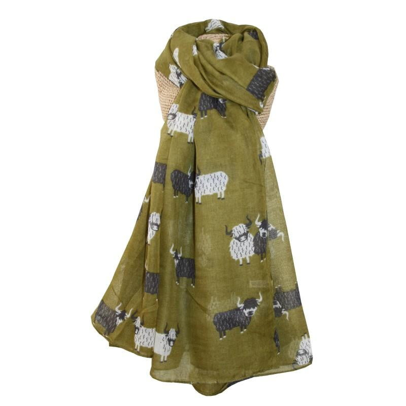 Lua Highland Cow Scarf - Olive - Hothouse