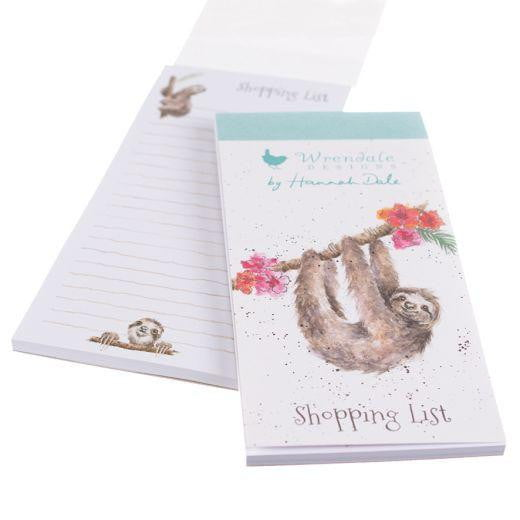 Wrendale Designs - 'Hanging Around' Sloth Magnetic Shopping List Pad - Hothouse