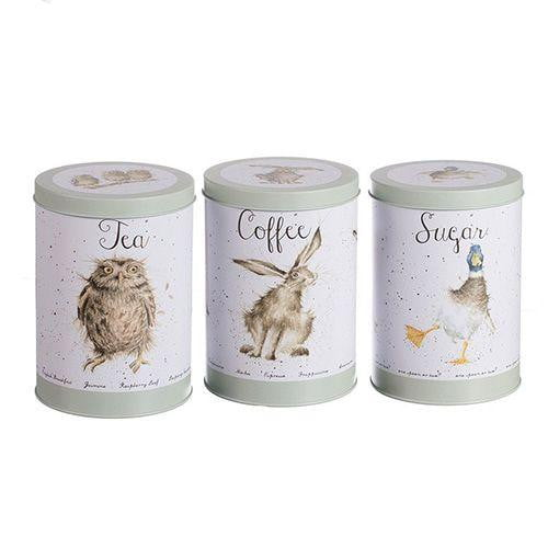 Wrendale Designs - Tea, Coffee and Sugar Canisters - Owl, Hare,& Duck TN004