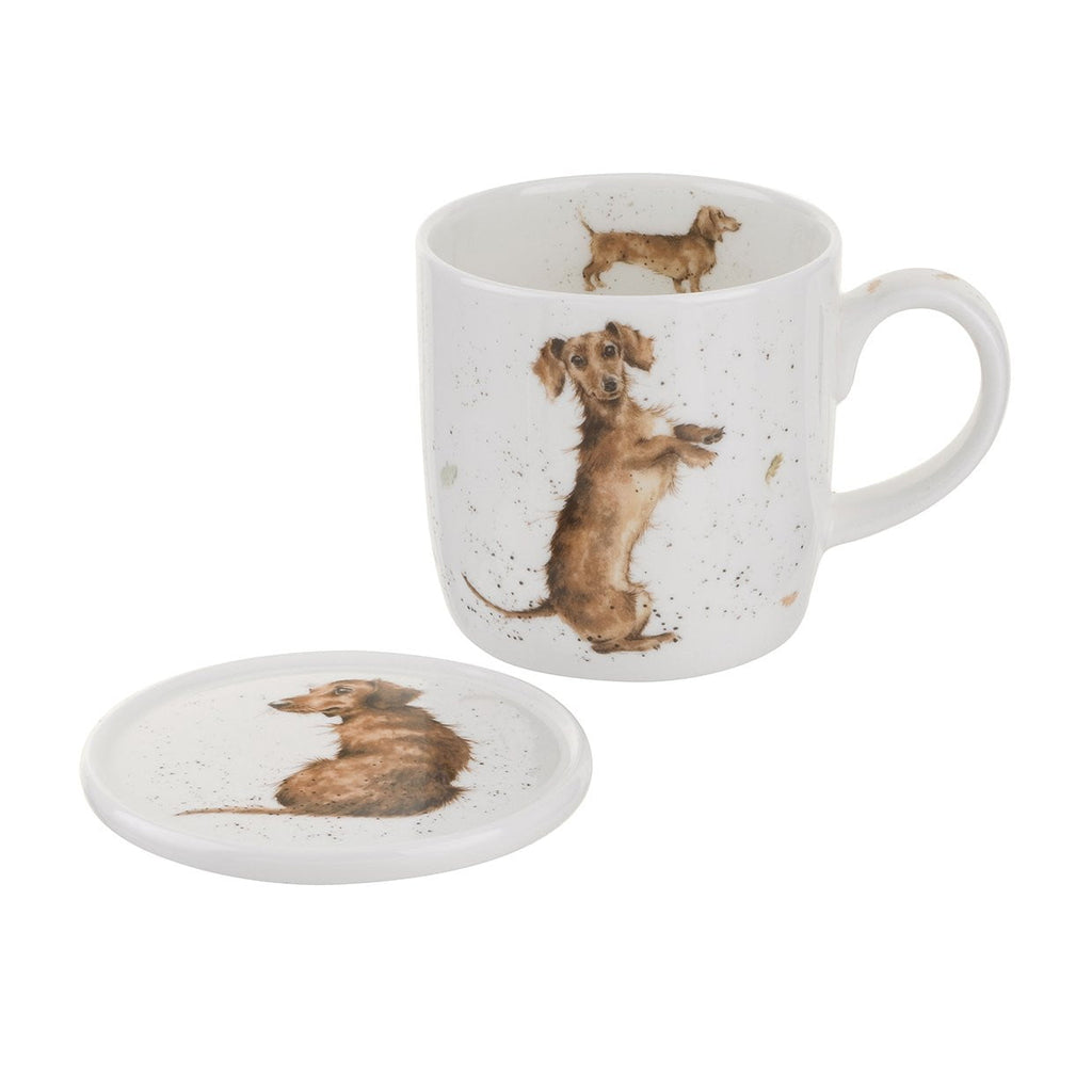 Wrendale Designs 'Hello Sausage' Sausage Dog Mug & Coaster Set
