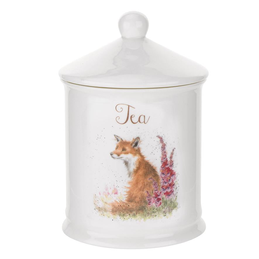 Wrendale Designs 'Foxgloves' Fox Bone China Tea Canister