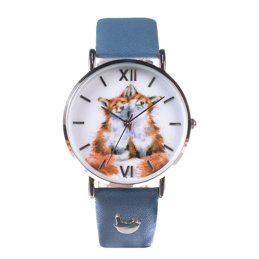 Wrendale Designs ' Contentment' Foxes Watch with Leather Strap