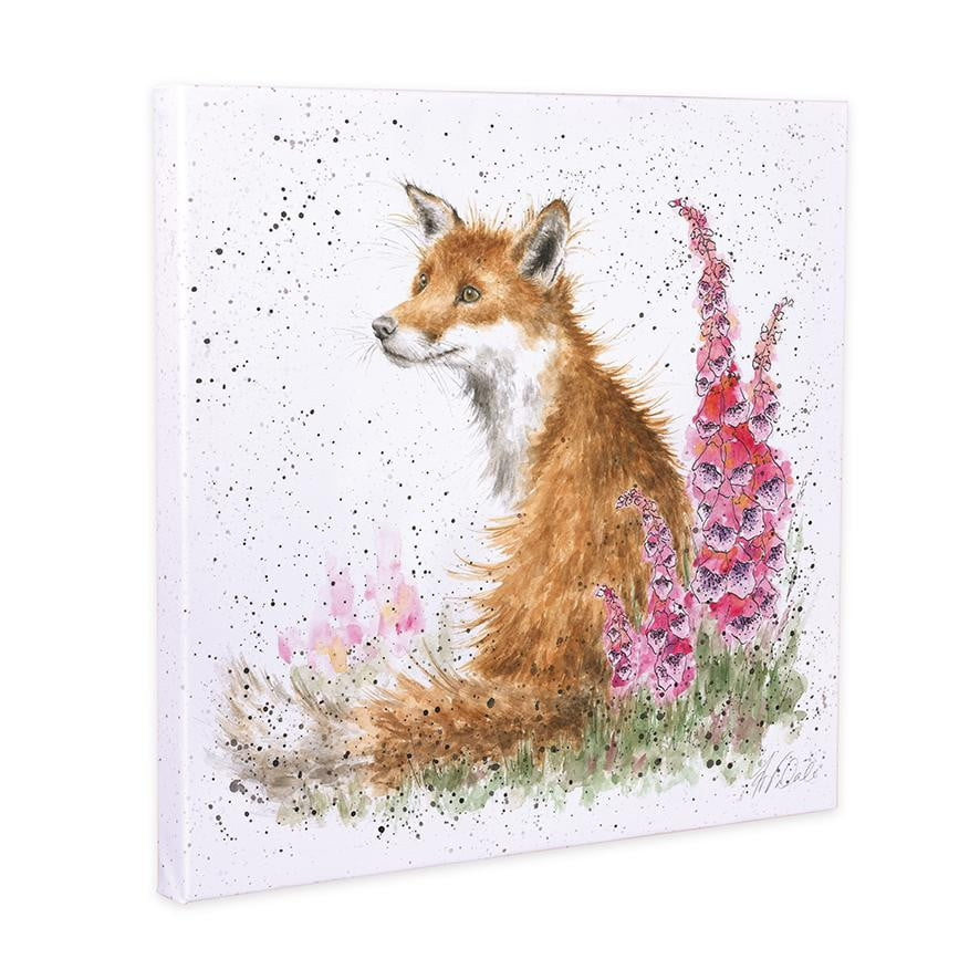 Wrendale Designs 'Foxgloves' Fox 20cm Canvas Print - Hothouse