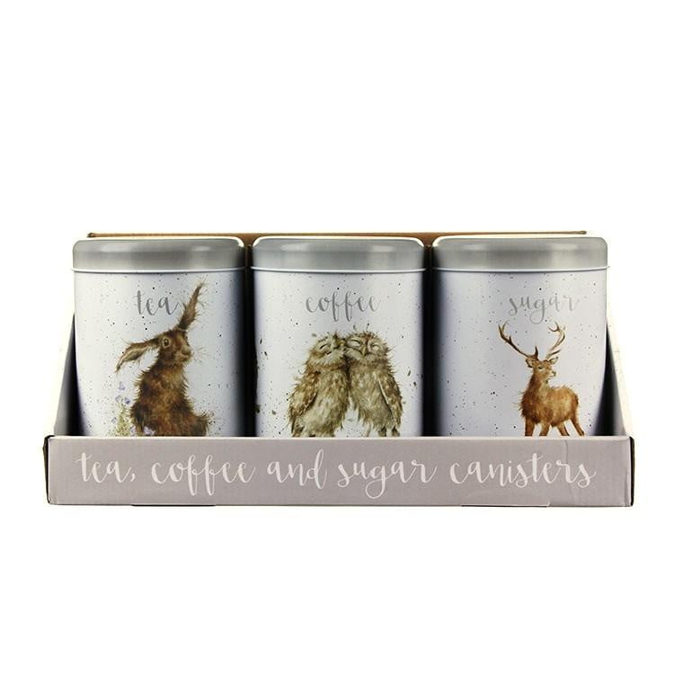 Wrendale Designs - Tea, Coffee and Sugar Canisters - Hare, Owls, Stag (TN019)