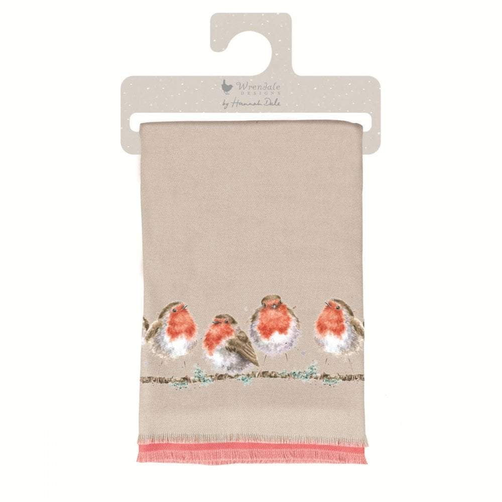 Wrendale 'Jolly Robin' Winter Scarf with Gift Bag - Hothouse