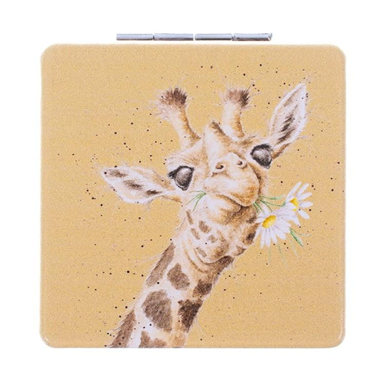 Wrendale Designs 'Flowers' Giraffe Compact Mirror - Hothouse