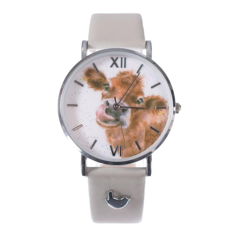 Wrendale Designs ' Mooo' Cow Watch with Leather Strap - Hothouse
