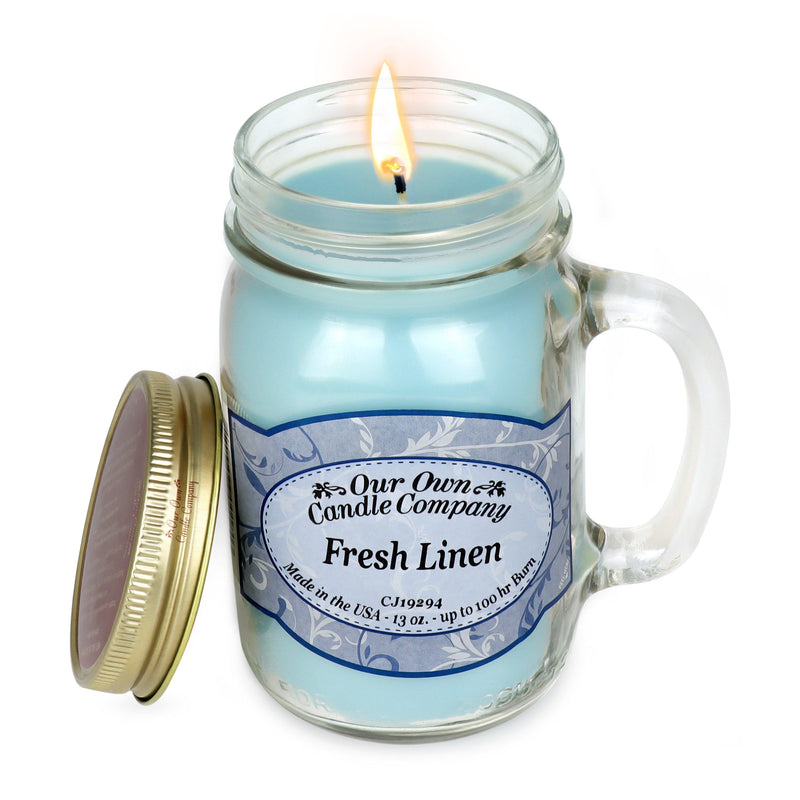 Fresh Linen Classic Large Mason - Our Own Candle Company NI