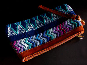 Blue Brocaded Clutch with Leather Wrist Strap