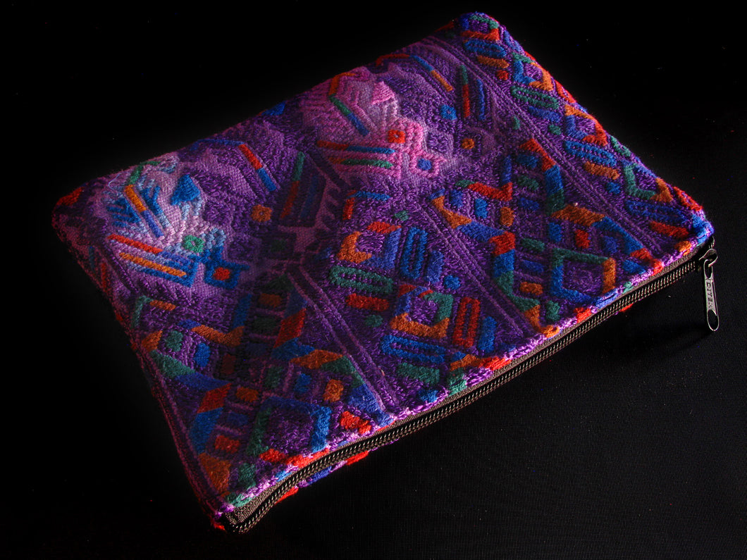 Purple Upcycled Woven Bag 8 1/2