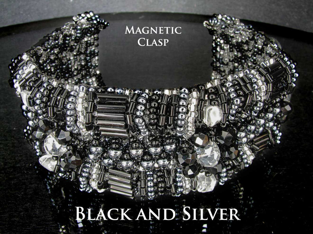 Black and Silver Cuff Bracelet with Magnetic Clasps 7 1/2 inches