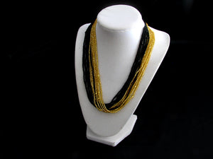 Black and Gold Multistrand Necklace