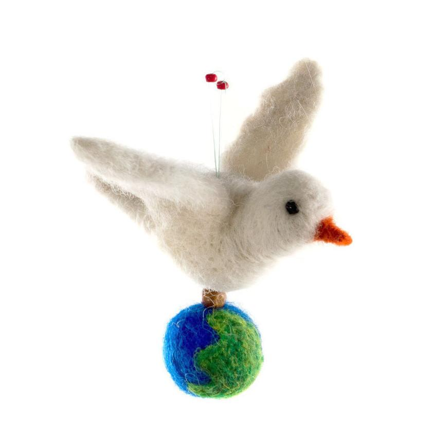 Felted Dove of Peace Christmas Ornament
