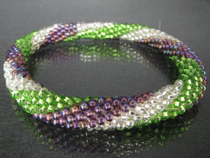 Purple Silver and Green Spiral Roll-On Bracelet