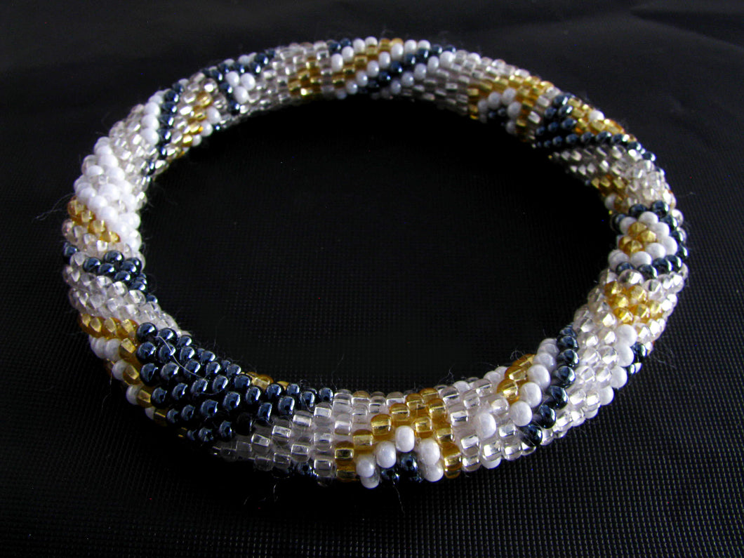 Antique Gray, Gold and White Roll-on Bracelet