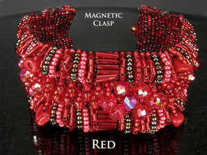 Rich Red Beaded Cuff Bracelet with Magnetic Clasps 7 1/2 inches