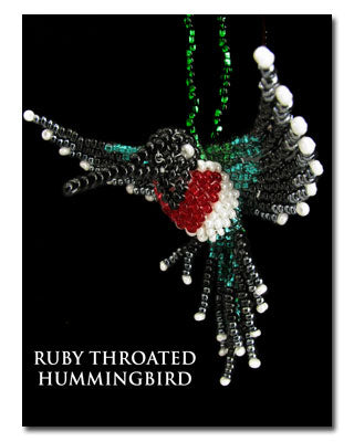 Ruby Throated Hummingbird Christmas Ornament