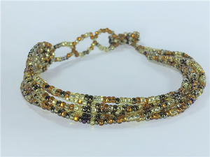 "Golden Bronze Mix Strand Bracelet, 7-8"" length"