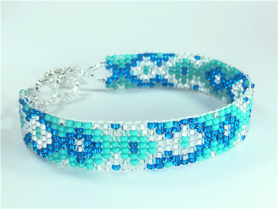 Turquoise, Silver and Blue Bracelet