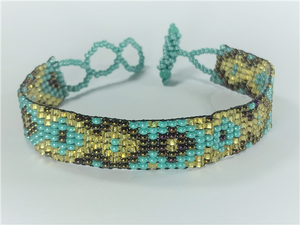 Turquoise, Brown and Gold Bracelet