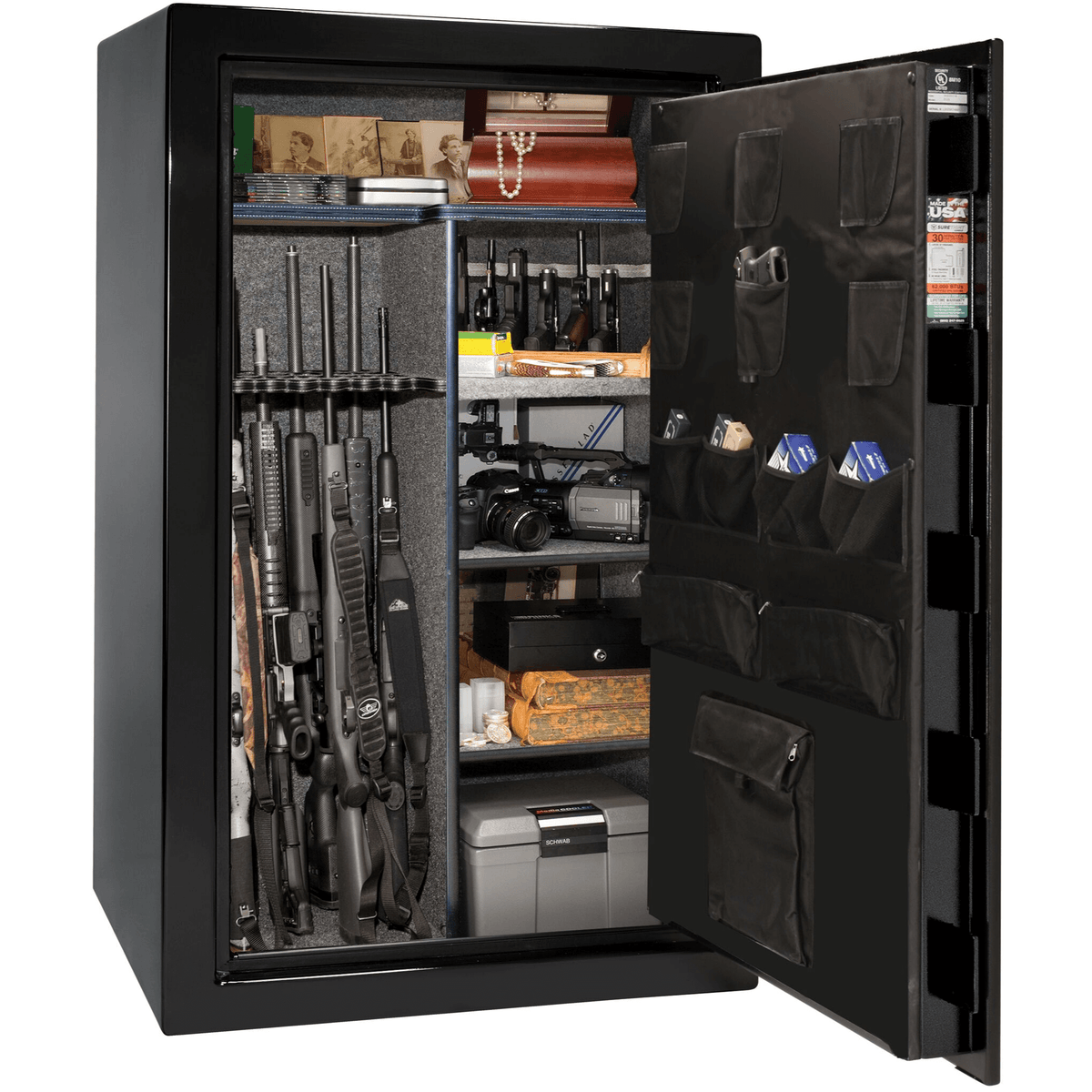 "USA | 36 | Level 2 Security | 40 Minute Fire Protection | Black | Chrome Electronic Lock | 60.5""(H) x 36""(W) x 25""(D)"