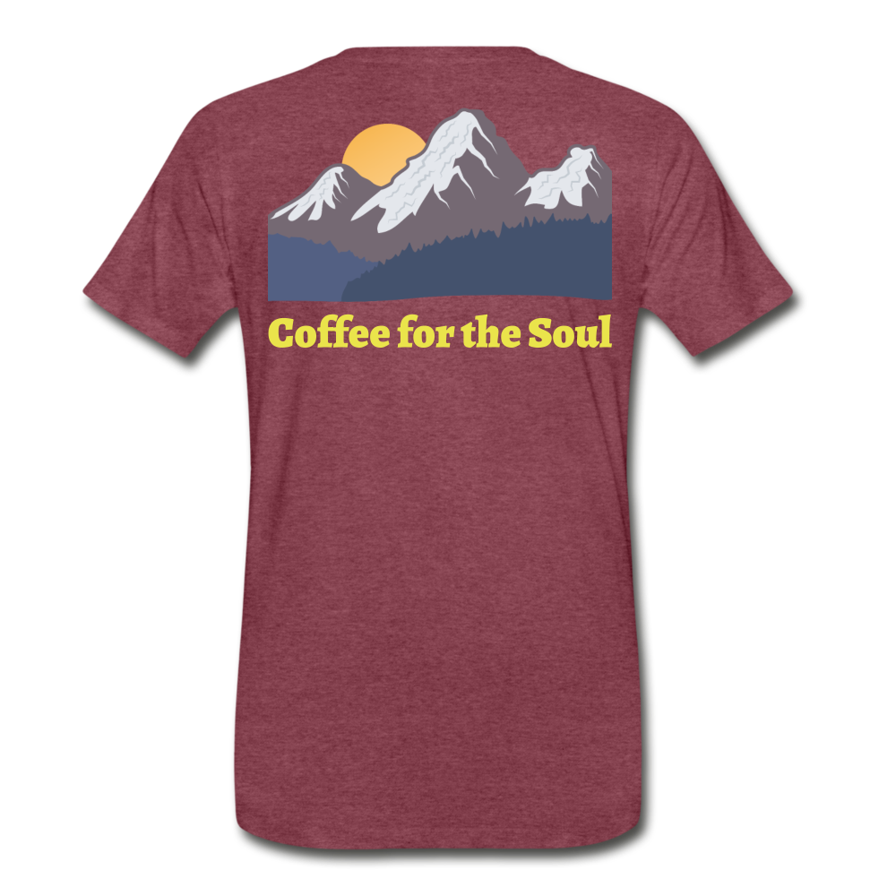 Coffee for the Soul Tee - heather burgundy