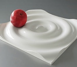 Alone, Ripple can be use as a centerpiece for displaying fruit, and snacks. In numbers on the wall, Ripple makes for a unique paneling system. They are made from injection molded ABS plastic. Produced by E&Y Co., Ltd.