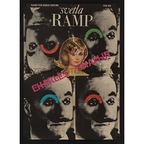 Limelight Original Vintage Czech Eastern European Film poster for Charlie Chaplin's Movie