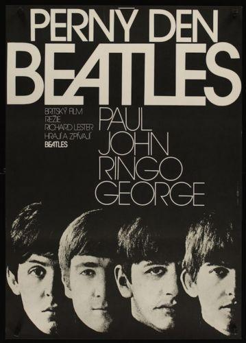 A Hard Day's Night - The Beatles Vintage Czech Poster - Czech Film Poster Gallery