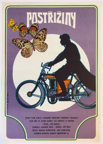 Cutting it Short (Postriziny) image of a man on Laurin & Klement motorcycle and butterflies - Czech Poster Gallery