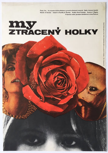 Collage of beautiful women, pearl neklace and rose, My ztraceny holky film - Czech Poster Gallery