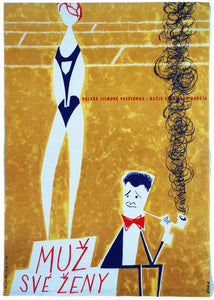 Old Czech film poster for Polish movie Mąż swojej żony from 60's, Cool 60's image of a man smoking his pipe and his wife standing on the podium of victory - Czech Poster Gallery