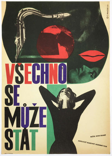 Image of musical instrument, lips and lady holding her head - Czech Poster Gallery