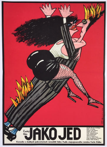 Vintage Czech film poster cool art of a woman jumping on the man on fire - Czech Poster Gallery
