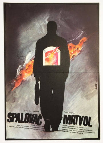 Original 1990 film poster for Czech horror The Cremator by artist Zdenek Vlach image of a man and fire - Czech Poster Gallery