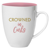 crowned in curls mug back