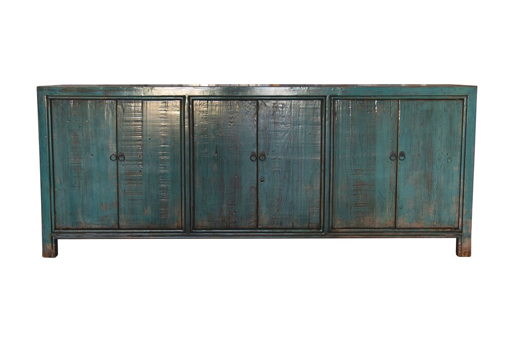 6 DOOR BLUE LACQUERED BUFFET (H8)